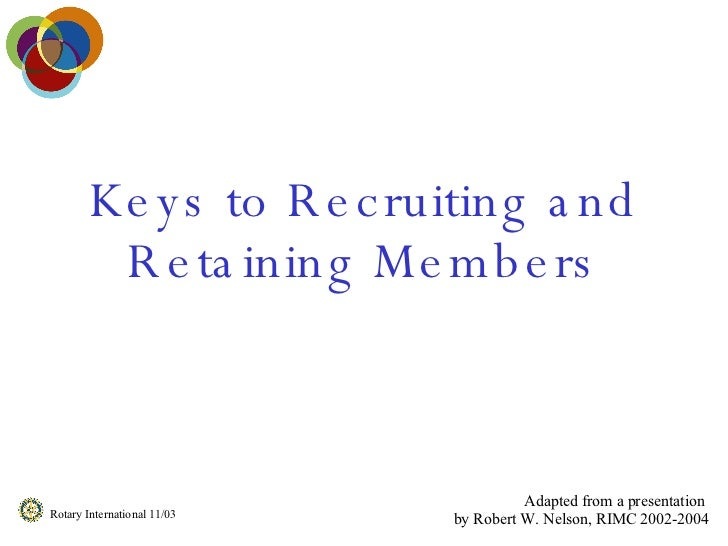 Keys to Recruiting and Retaining Members Adapted from a presentation  by Robert W. Nelson, RIMC 2002-2004