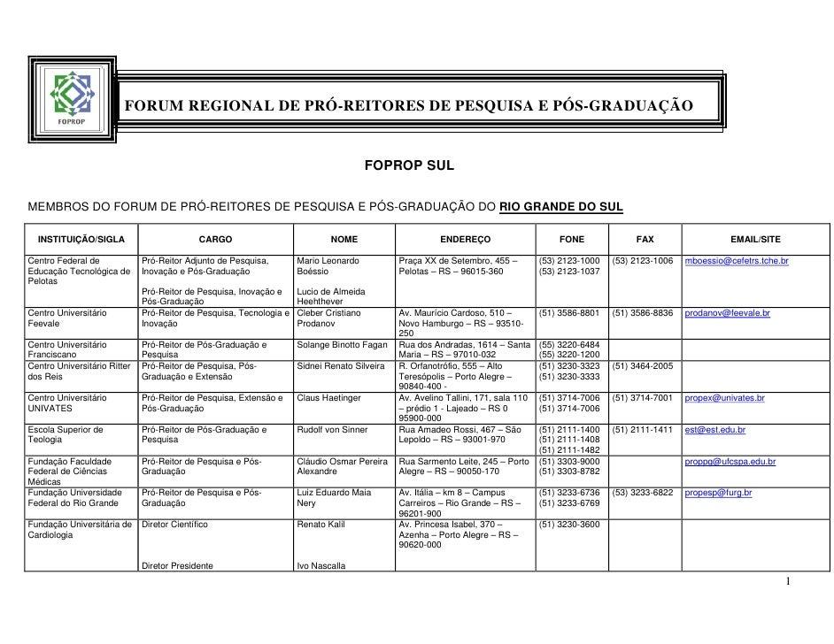 FORUM REGIONAL DE PRÓ-REITORES DE PESQUISA E PÓS-GRADUAÇÃO                                                                ...