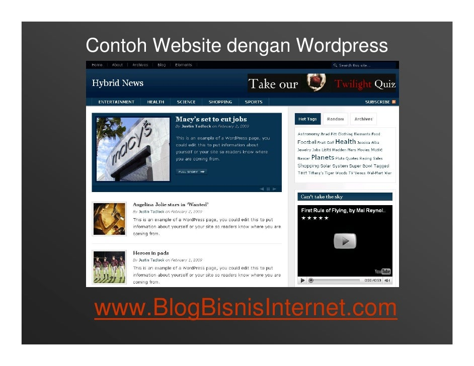 Contoh Website dengan Wordpress     www.BlogBisnisInternet.com