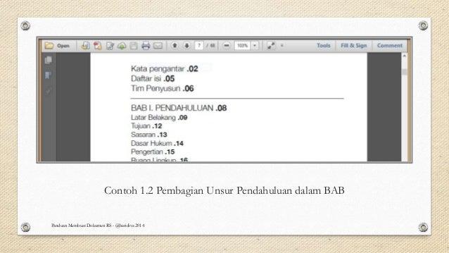 Contoh 1.2 Pembagian Unsur Pendahuluan dalam BAB Panduan Membuat Dokumen RS - @haridiva 2014