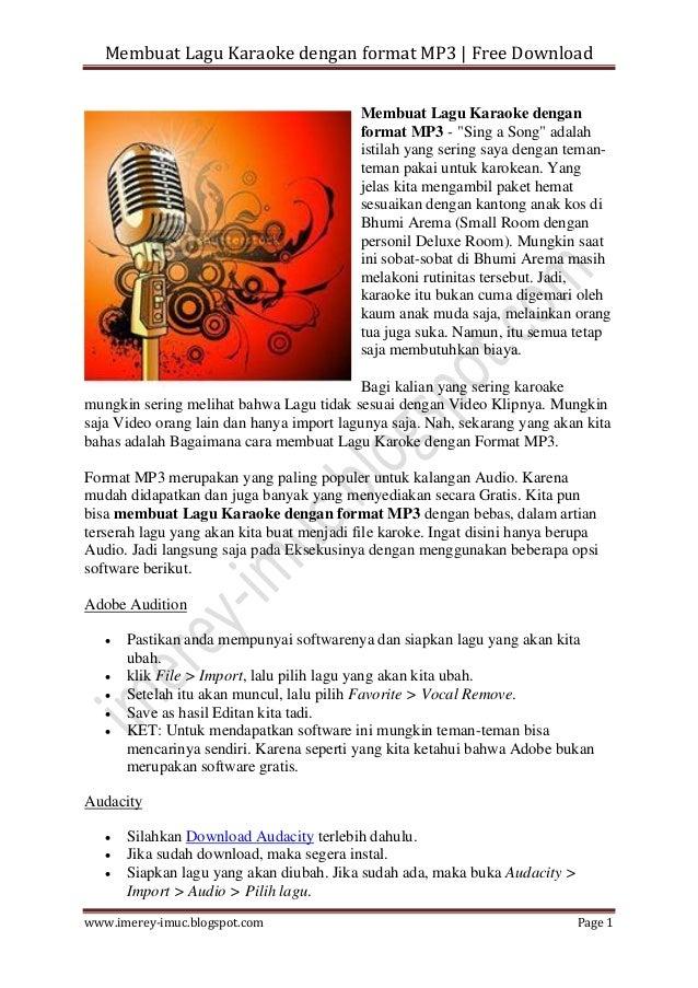 Membuat Lagu Karaoke Dengan Format Mp3