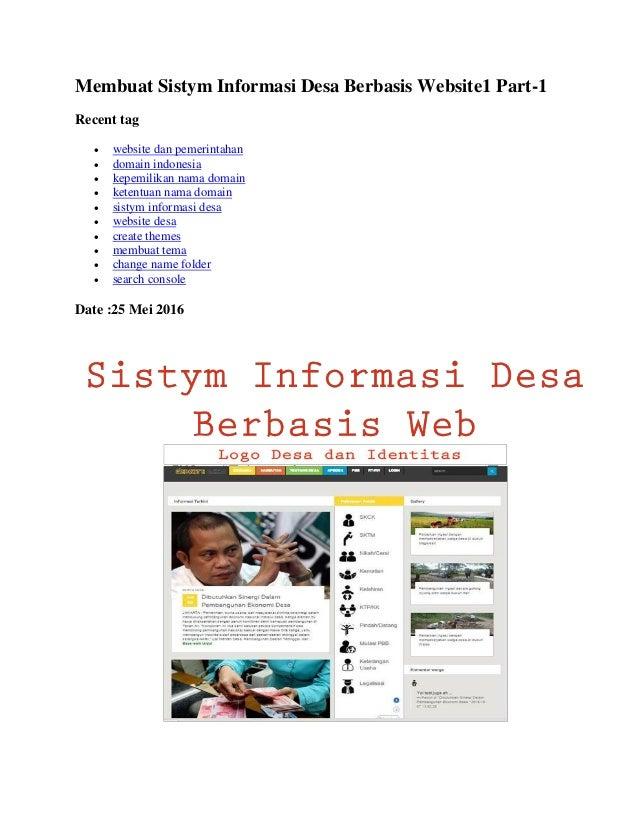 Membuat Sistym Informasi Desa Berbasis Website1 Part-1 Recent tag  website dan pemerintahan  domain indonesia  kepemili...