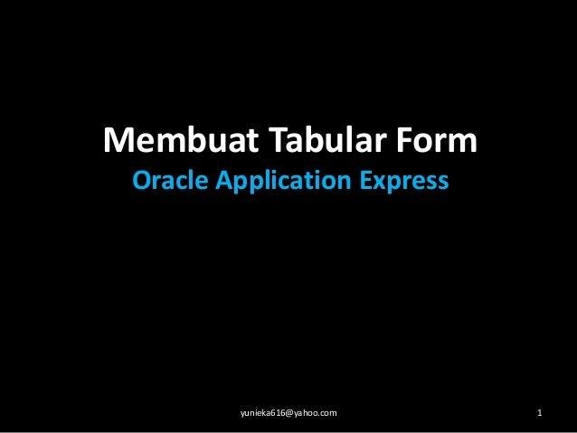 Membuat Tabular FormOracle Application Expressyunieka616@yahoo.com 1