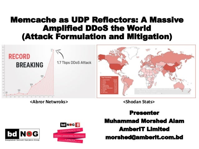 Memcache as UDP Reflectors: A Massive Amplified DDoS the World (Attack Formulation and Mitigation) Presenter Muhammad Mors...