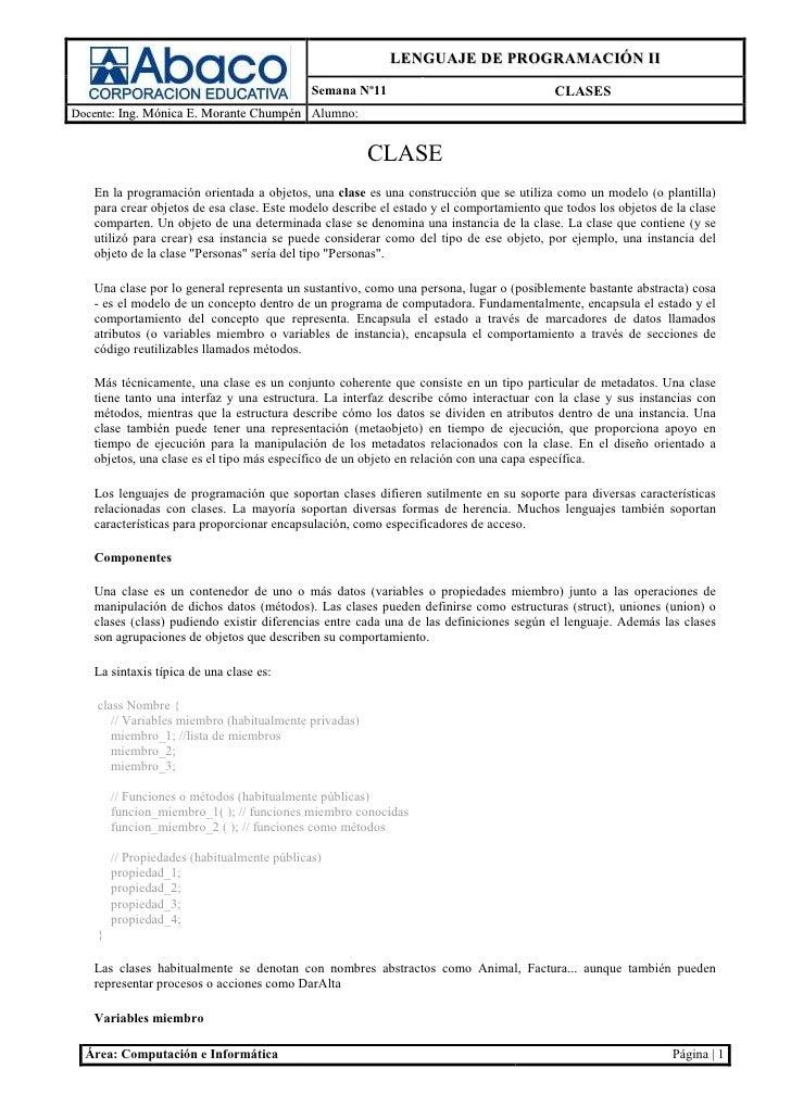 LENGUAJE DE PROGRAMACIÓN II                                             Semana Nº11                                 CLASES...