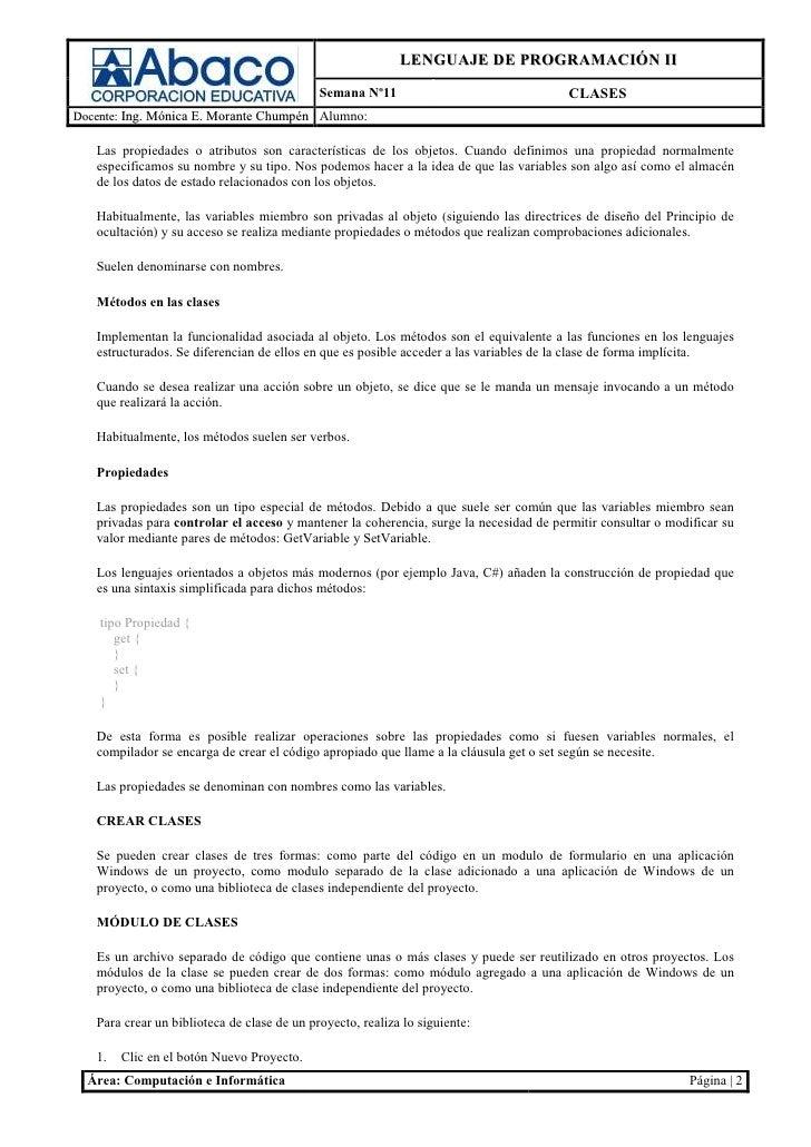 LENGUAJE DE PROGRAMACIÓN II                                             Semana Nº11                                CLASESD...
