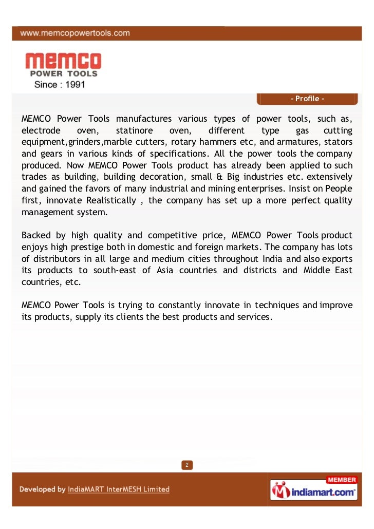 MEMCO Power Tools Private Limited, Mumbai, Industrial Polisher