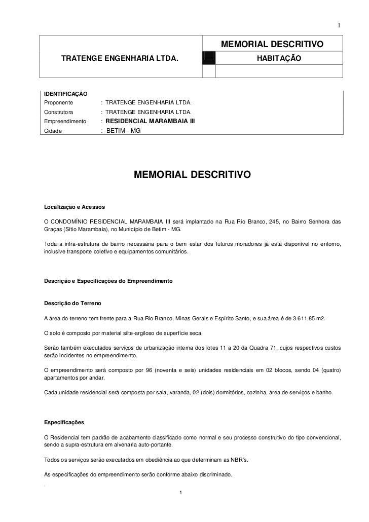 1                                                                      MEMORIAL DESCRITIVO       TRATENGE ENGENHARIA LTDA....