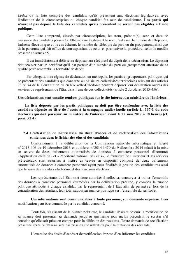 Memento Du Candidat Aux Elections Legislatives 2017
