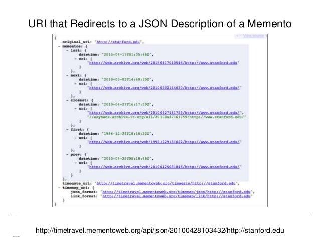 Memento & Access to Resource Versions Herbert Van de Sompel URI that Redirects to a JSON Description of a Memento http://t...