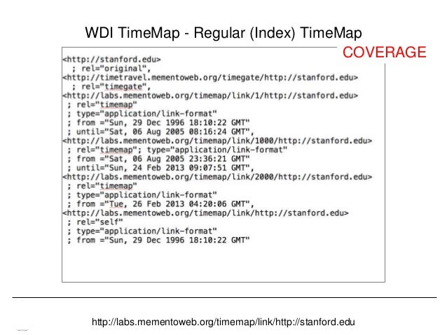 Memento & Access to Resource Versions Herbert Van de Sompel WDI TimeMap - Regular (Index) TimeMap http://labs.mementoweb.o...