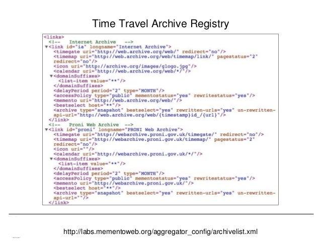 Memento & Access to Resource Versions Herbert Van de Sompel Time Travel Archive Registry http://labs.mementoweb.org/aggreg...