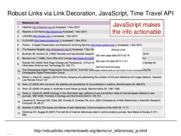 Memento & Access to Resource Versions Herbert Van de Sompel Robust Links via Link Decoration, JavaScript, Time Travel API ...