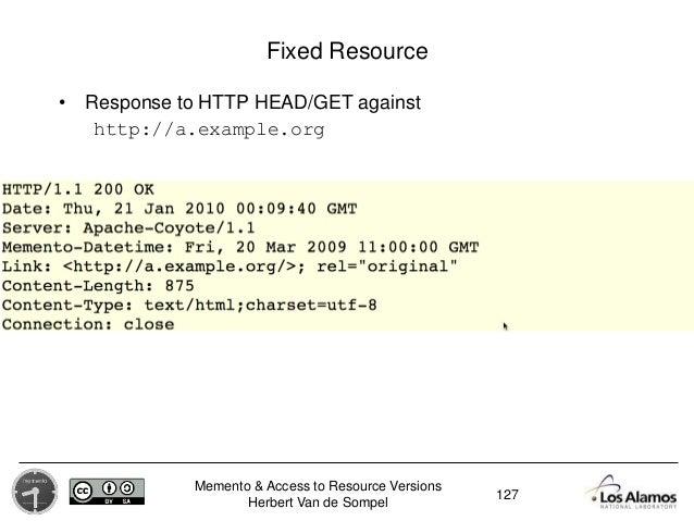 Memento & Access to Resource Versions Herbert Van de Sompel Fixed Resource • Response to HTTP HEAD/GET against http://a.ex...