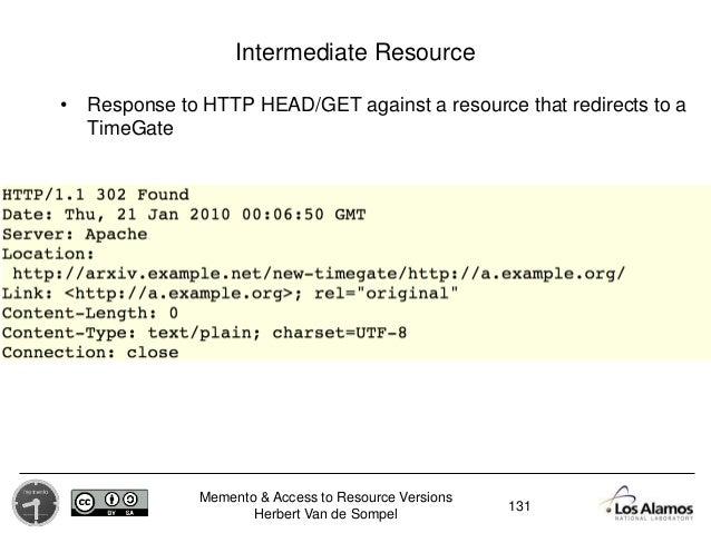 Memento & Access to Resource Versions Herbert Van de Sompel Intermediate Resource • Response to HTTP HEAD/GET against a re...