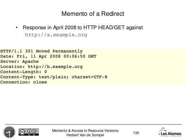 Memento & Access to Resource Versions Herbert Van de Sompel Memento of a Redirect • Response in April 2008 to HTTP HEAD/GE...