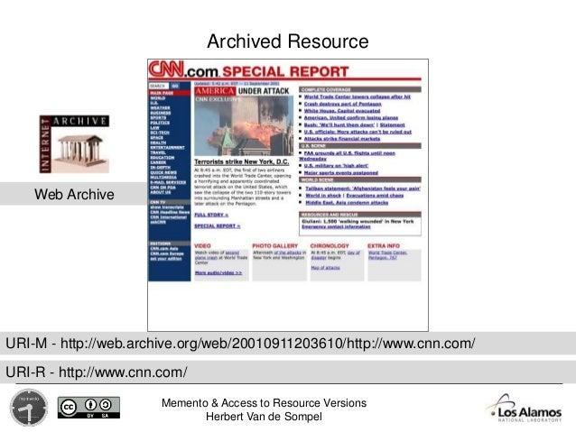 Memento & Access to Resource Versions Herbert Van de Sompel Web Archive Archived Resource URI-M - http://web.archive.org/w...