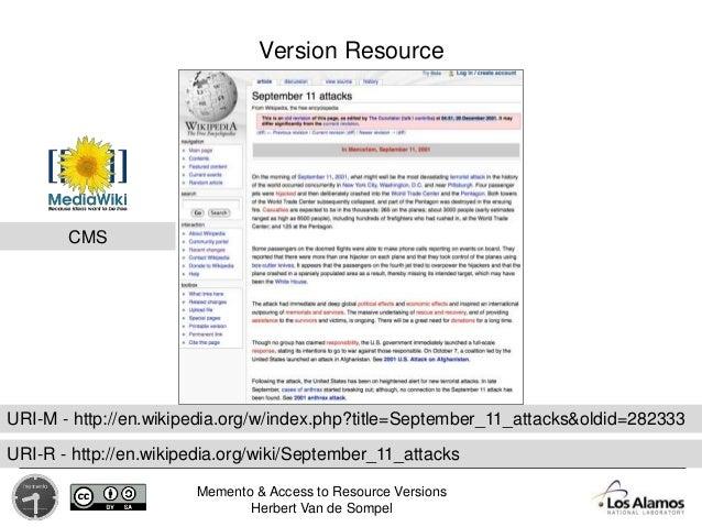 Memento & Access to Resource Versions Herbert Van de Sompel Version Resource URI-M - http://en.wikipedia.org/w/index.php?t...