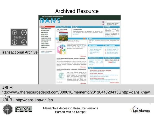 Memento & Access to Resource Versions Herbert Van de Sompel Archived Resource Transactional Archive URI-R - http://dans.kn...