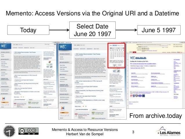 Memento & Access to Resource Versions Herbert Van de Sompel Today Select Date June 20 1997 June 5 1997 From archive.today ...