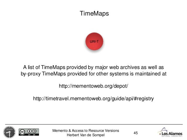 Memento & Access to Resource Versions Herbert Van de Sompel 45 TimeMaps A list of TimeMaps provided by major web archives ...