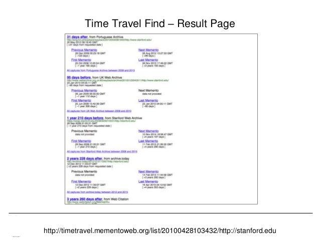 Memento & Access to Resource Versions Herbert Van de Sompel Time Travel Find – Result Page http://timetravel.mementoweb.or...