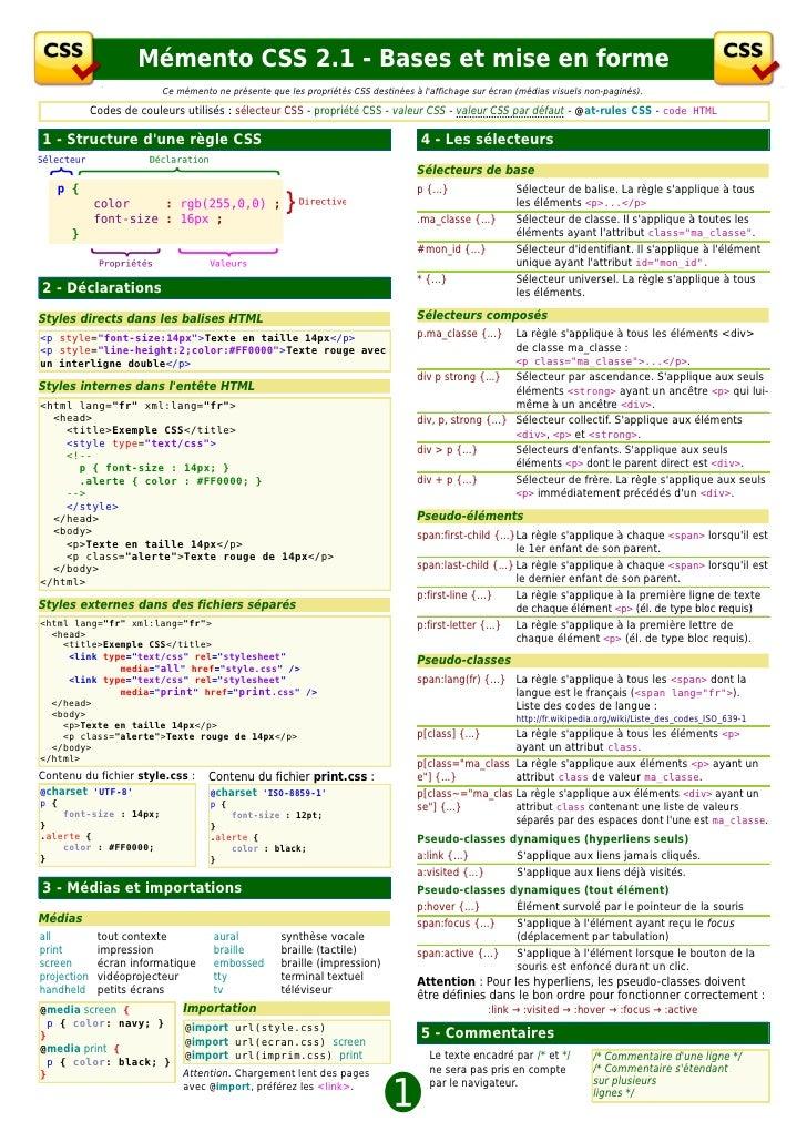 Mémento CSS 2.1 - Bases et mise en forme                         Ce mémento ne présente que les propriétés CSS destinées à...