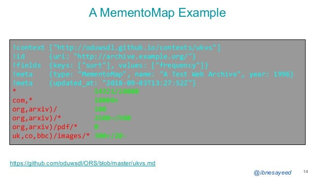 """@ibnesayeed A MementoMap Example 14 !context [""""http://oduwsdl.github.io/contexts/ukvs""""] !id {uri: """"http://archive.example...."""