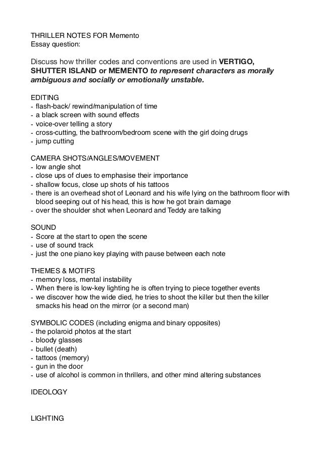 Synthesis Essay Topics Thriller Notes For Memento Essay Question Discuss How Thriller Codes And  Conventions Are Used In  Essay Paper Writing Services also Example Of An Essay With A Thesis Statement Memento Notes Pages Essay On Health Care Reform