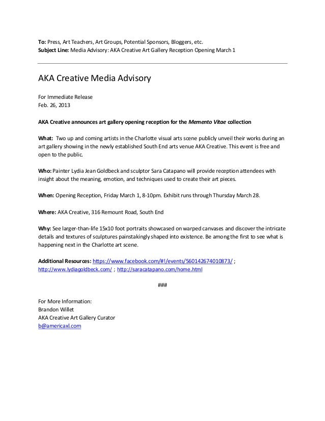 Media advisory sample for Media alert template