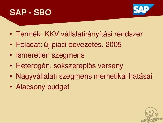 SAP - SBO•   Termék: KKV vállalatirányítási rendszer•   Feladat: új piaci bevezetés, 2005•   Ismeretlen szegmens•   Hetero...