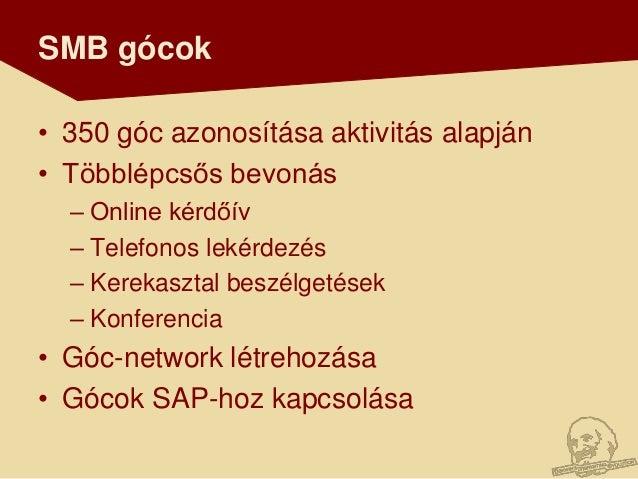 SMB gócok• 350 góc azonosítása aktivitás alapján• Többlépcsős bevonás  – Online kérdőív  – Telefonos lekérdezés  – Kerekas...