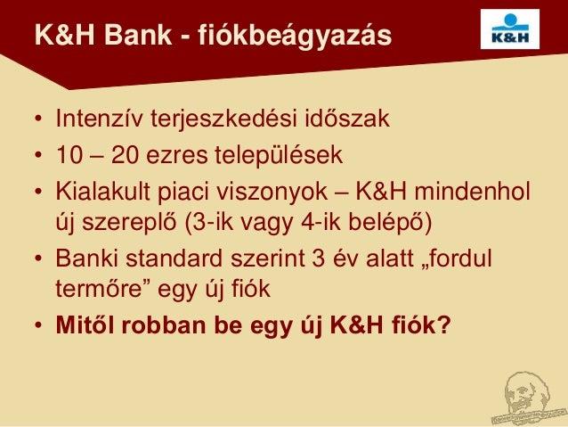 K&H Bank - fiókbeágyazás• Intenzív terjeszkedési időszak• 10 – 20 ezres települések• Kialakult piaci viszonyok – K&H minde...