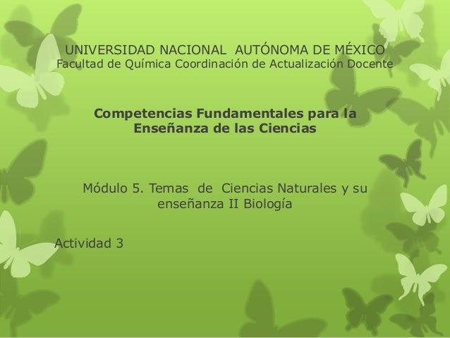 UNIVERSIDAD NACIONAL AUTÓNOMA DE MÉXICO Facultad de Química Coordinación de Actualización Docente Competencias Fundamental...