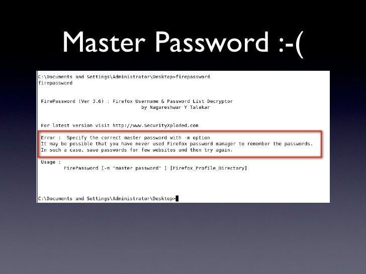 Master Password :-(