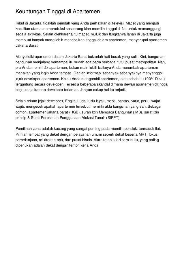 Keuntungan Tinggal di Apartemen Ribut di Jakarta, tidaklah seindah yang Anda perhatikan di televisi. Macet yang menjadi ke...