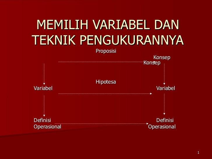 MEMILIH VARIABEL DAN TEKNIK PENGUKURANNYA Proposisi Konsep  Konsep Hipotesa Variabel     Variabel Definisi    Definisi  Op...