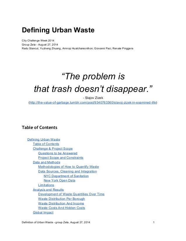 Defining Urban Waste(Memo)