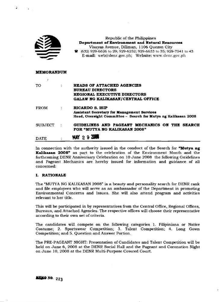 Memo 2008 (Guidelines & Pageant Mechanics For Mutya Ng Kalikasan 2008)