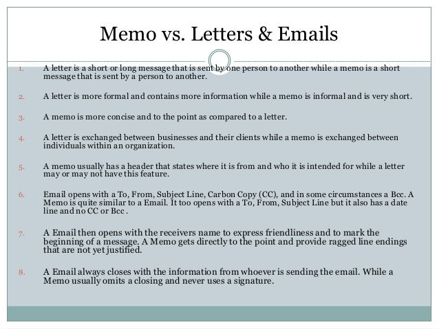 memo writing samples