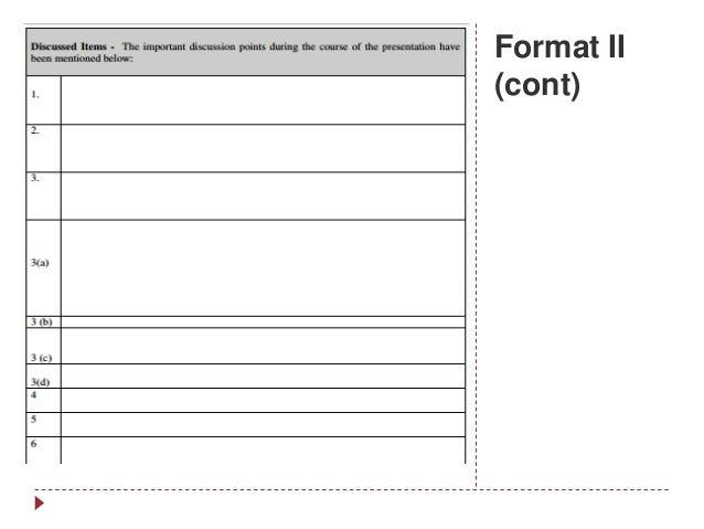 Format II (cont)