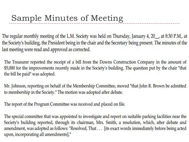 Memo and minutes of meeting – Meeting Minute Sample