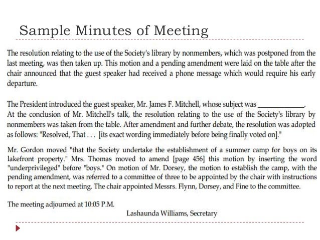 Sample Minutes Of Meeting; 17.  Minutes Example