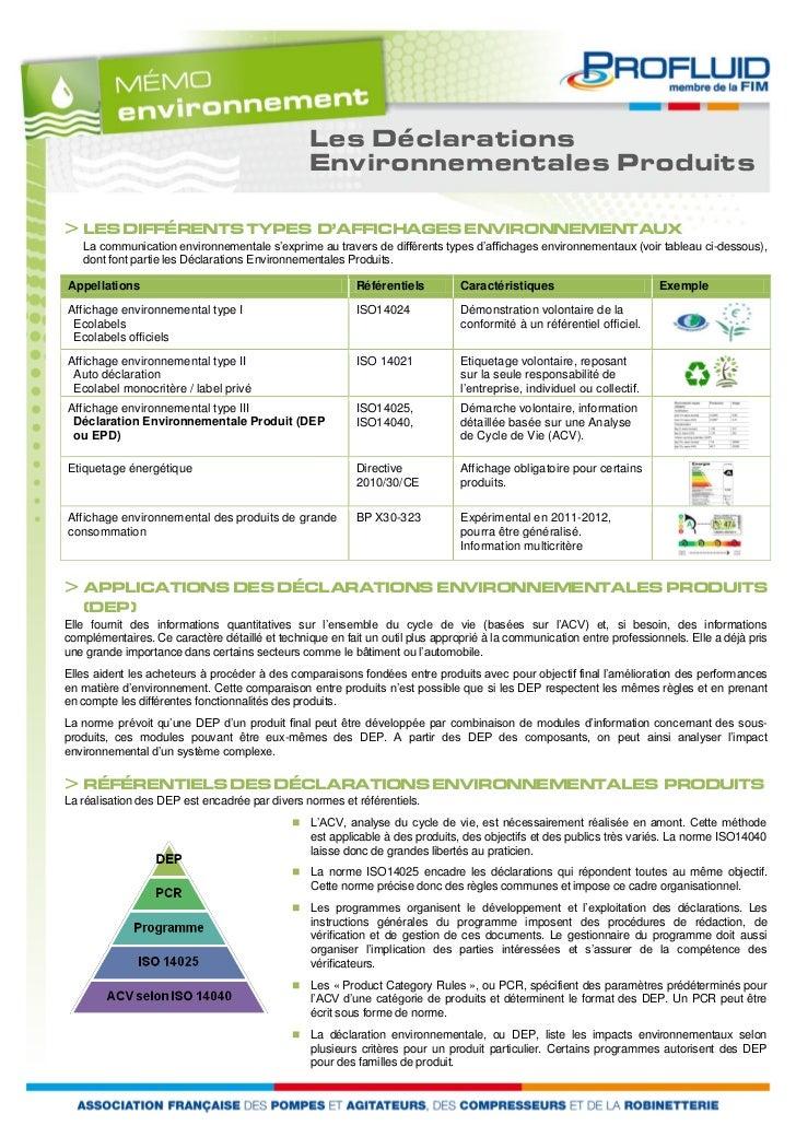 Les Déclarations                                                 Environnementales Produits> LES DIFFÉRENTS TYPES D'AFFICH...