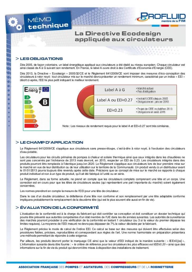 La Directive Ecodesign                                              appliquée aux circulateurs> LES OBLIGATIONS Dès 2005, ...