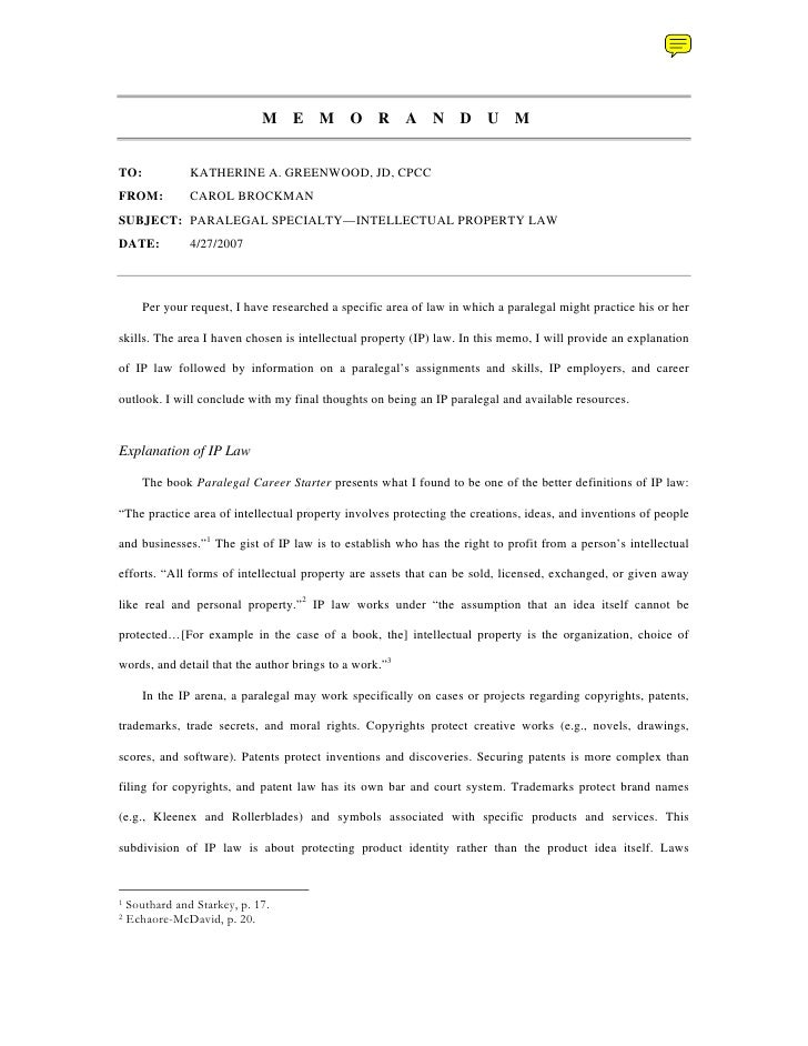Writing Sample: Memo On International Property Law
