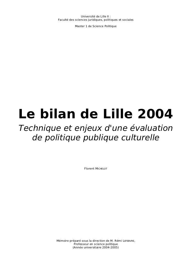Université de Lille II :         Faculté des sciences juridiques, politiques et sociales                     Master 1 de S...