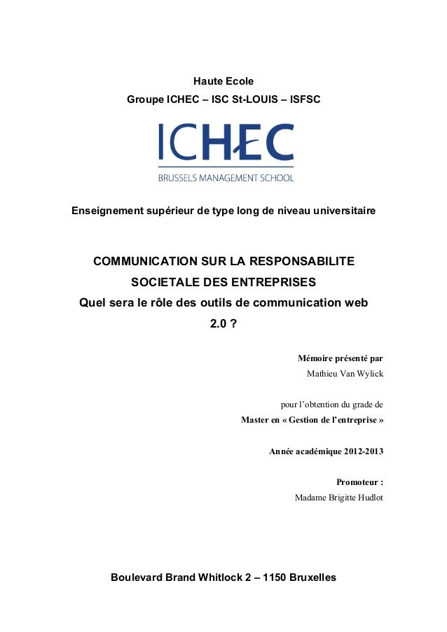 !Haute EcoleGroupe ICHEC – ISC St-LOUIS – ISFSC!Enseignement supérieur de type long de niveau universitaire!!COMMUNICATION...