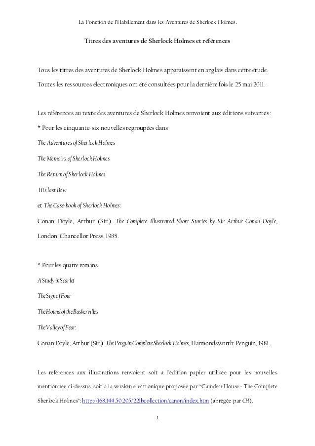 La Fonction de l'Habillement dans les Aventures de Sherlock Holmes. 1 Titres des aventures de Sherlock Holmes et référence...