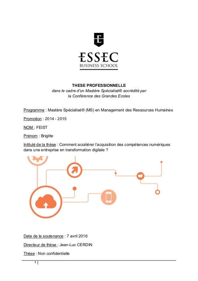1 THESE PROFESSIONNELLE dans le cadre d'un Mastère Spécialisé® accrédité par la Conférence des Grandes Ecoles Programme : ...